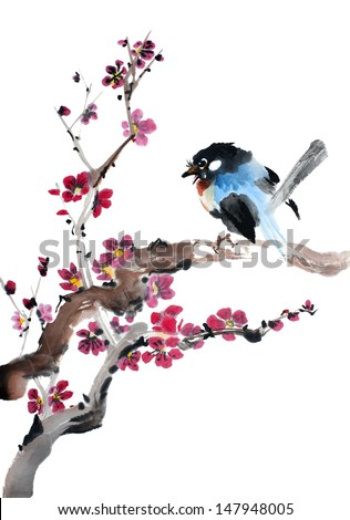 original art, watercolor painting of song bird on blossoming plum tree branch - stock photo