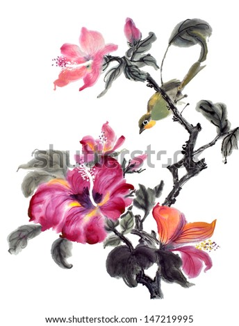 original art, watercolor painting of songbird and hibiscus flower in bloom - stock photo