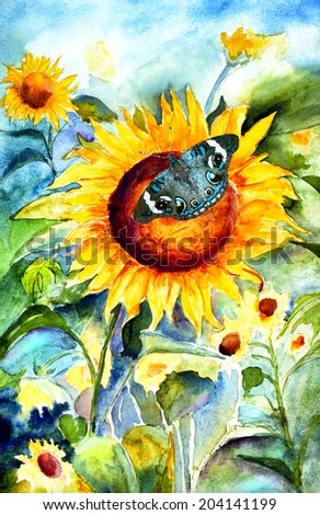original art, watercolor painting of sunflower with buckeye butterfly - stock photo