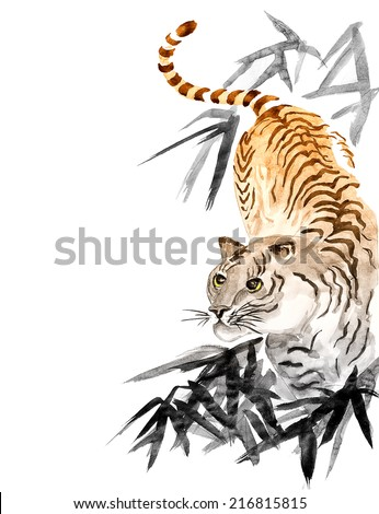 original art, watercolor painting of tiger with bamboo - stock photo