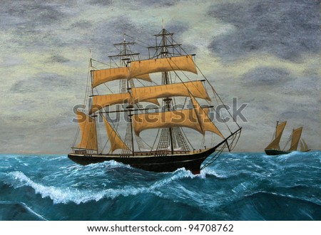 Original Artwork, Clipper Ships at Sea, oil painting on board - stock photo