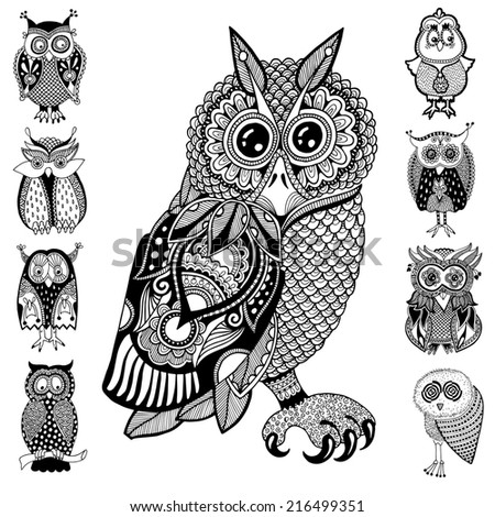 original artwork of owl, ink hand drawing in ethnic style collection, raster version in black end white colors - stock photo