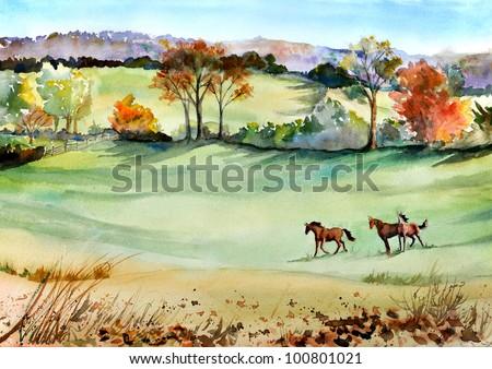 original artwork, painting of horses in Fall - stock photo