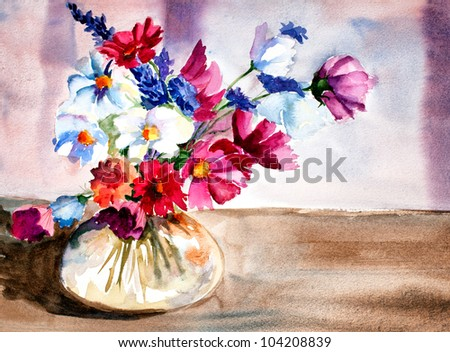 original artwork, watercolor painting of summer flowers in glass vase - stock photo