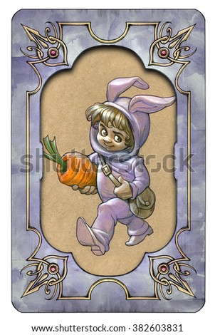 Original artwork with illustration of a kid in rabbit costume carrying a carrot, framed with elegant vintage paper textured hand drawn border