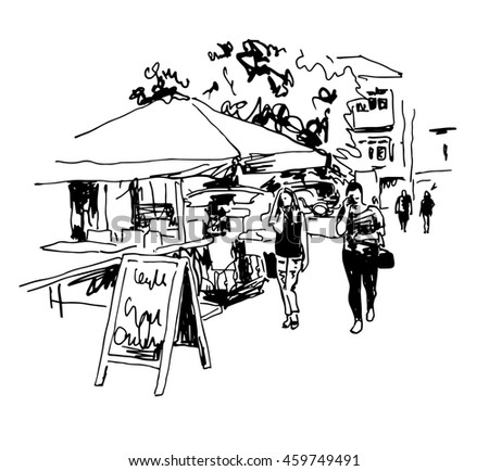 original black and white digital sketch of street cafe with people in center Kyiv, Ukraine town landscape, pleinair drawing, raster version illustration