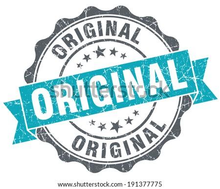 Original blue grunge retro style isolated seal - stock photo