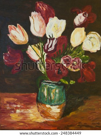 Original   bouquet of flowers in a  vase . Hand painted watercolor painting - stock photo