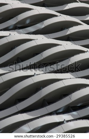 Original building facade - balconies like waves in Gold Coast, Australia - stock photo