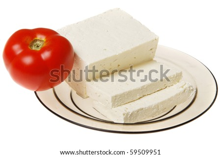 Original bulgarian cheese with tomato into plate