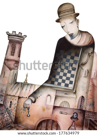 Original Chess Illustration - stock photo