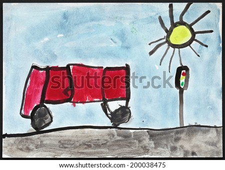 Original child's drawing of a red bus and traffic lights drawing by a five-year-old girl.  - stock photo