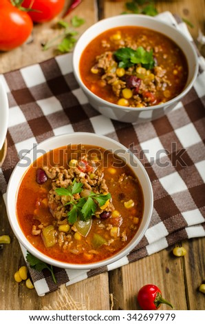 Original Chilli con carne from beer meat - stock photo