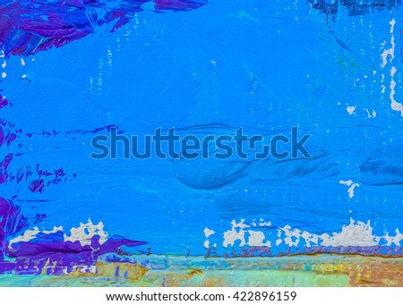 original colorful oil painting brush strokes texture background, cool tone - stock photo