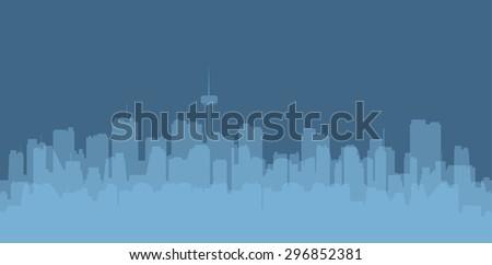 Original contour of the big city on a blue background. - stock photo