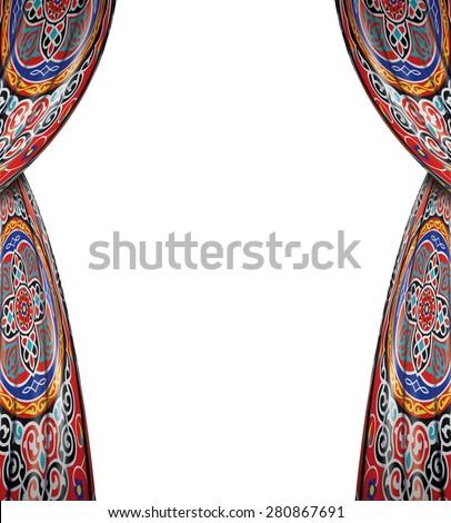 Original Decorative Ramadan Curtains Isolated on White Background - stock photo