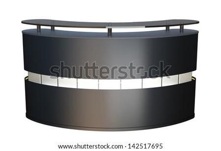 original design reception counter made of matted metal - stock photo