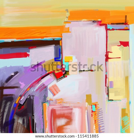 original digital abstract painting - stock photo