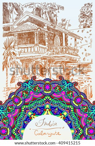original drawing of India Goa Calangute Baga landscape street and circle paisley pattern, travel sketch, touristic postcard or poster, raster version illustration - stock photo