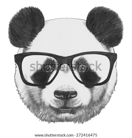 Original drawing of Panda with glasses. Isolated on white background - stock photo