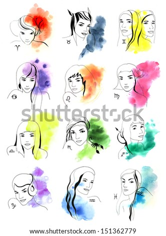 Original drawing of women zodiac signs on the white background - stock photo