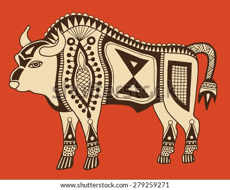 original ethnic tribal bison drawing, authentic  raster version illustration - stock photo