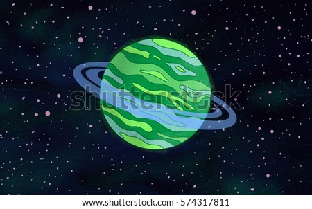 Original Exotic fantasy green gas giant Alien Planet with blue rings.  Space scene environment. Video Game, Digital CG Artwork, Concept Illustration. US Animated Cartoon Style Background