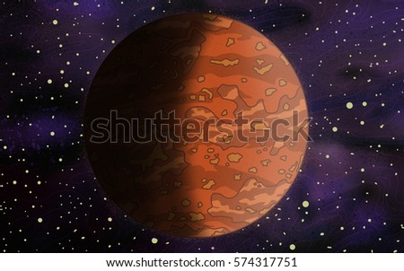 Original Exotic fantasy orange Alien Planet.  Space scene environment. Video Game, Digital CG Artwork, Concept Illustration. US Animated Cartoon Style Background