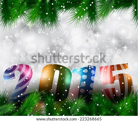 Original 2015 flat style  new year modern background with 3D style earth and soft shadows. - stock photo