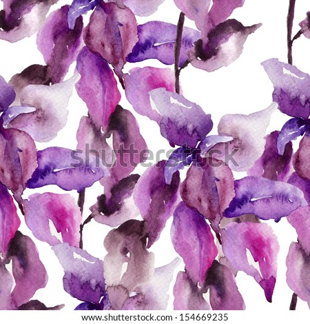 Original floral seamless wallpaper, watercolor illustration - stock photo