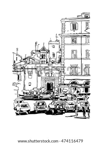 original freehand black and white ink sketch travel card from Rome Italy, old italian imperial building with people walking and cars, travel book raster version illustration