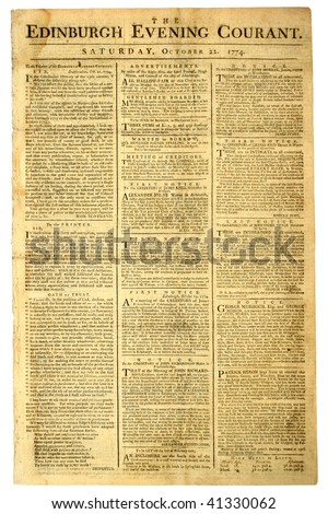 Original front page of a Scottish newspaper, dated 1774. - stock photo