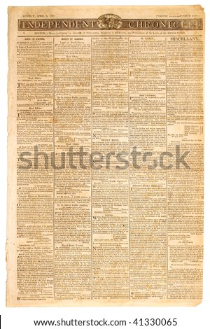 Original front page of an American newspaper, dated 1807. - stock photo