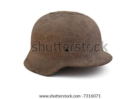 Original German helmet - World War II era on white background - stock photo