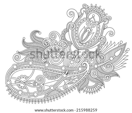 original hand draw line art ornate flower design. Ukrainian traditional style, black and white collection, raster version - stock photo