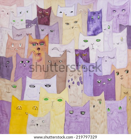 Original hand painted silk scarf with cats - stock photo