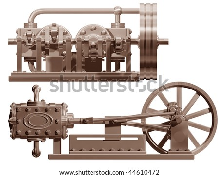 Original illustration of a steam engine front and side - stock photo