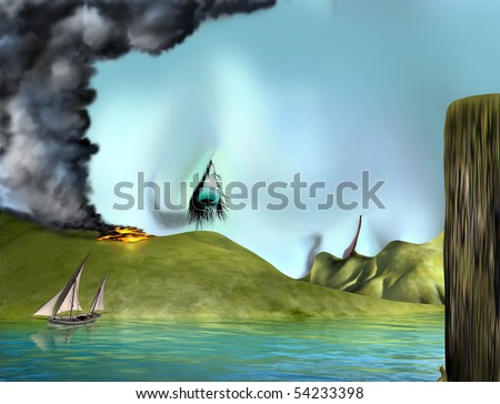 Original illustration of a surreal landscape merged with a beautiful woman - stock photo