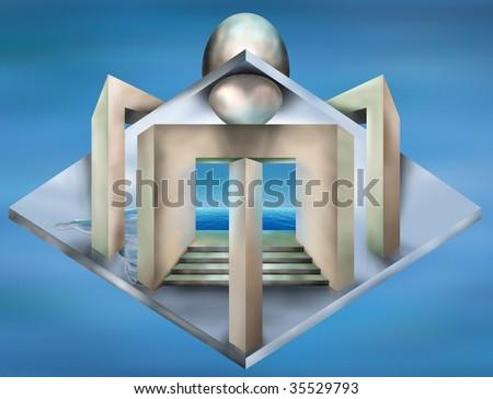 Original illustration of an art deco construct - stock photo