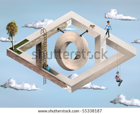 Original illustration of an impossible architectural structure - stock photo