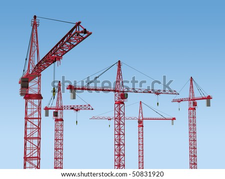 Original illustration of five tower cranes on a building site - stock photo