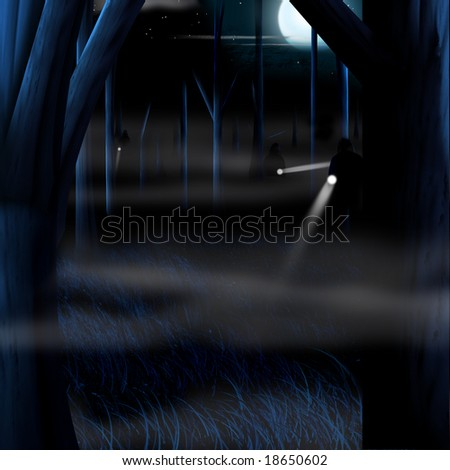 Original illustration of people searching the woods with flashlights. - stock photo