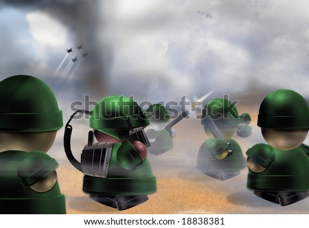 Original illustration of toy soldiers. - stock photo