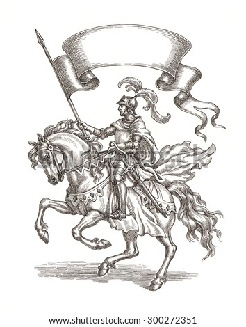Original ink and pen drawing, knight on a horse with a flag.