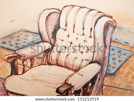 Original ink drawing of sofa in room - stock photo