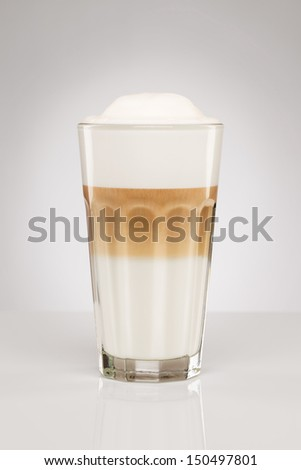 original latte macchiato coffee on gray background
