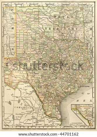 "Original map of Texas with Oklahoma as ""Indian Territory"", dated 1889. - stock photo"