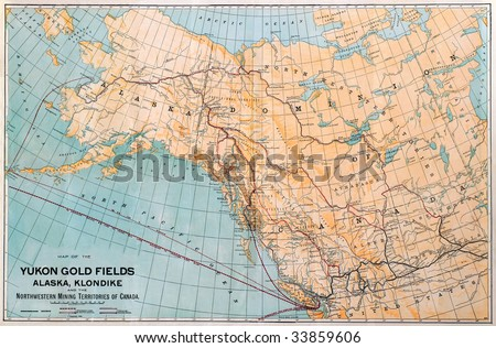 Original map of the Alaska and Yukon Gold fields, dated 1898. - stock photo