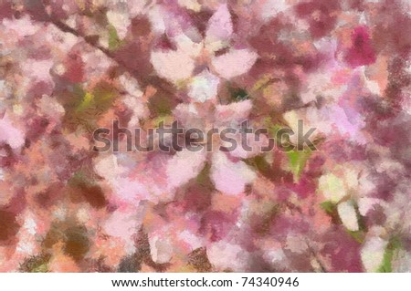 Original mixed media painting of blooming cherry tree - stock photo