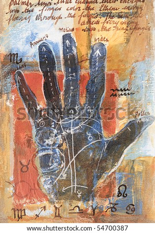 Original mixed media painting with hand palm up marked with palmistry symbols and handwritten text. Painted by the photographer. - stock photo